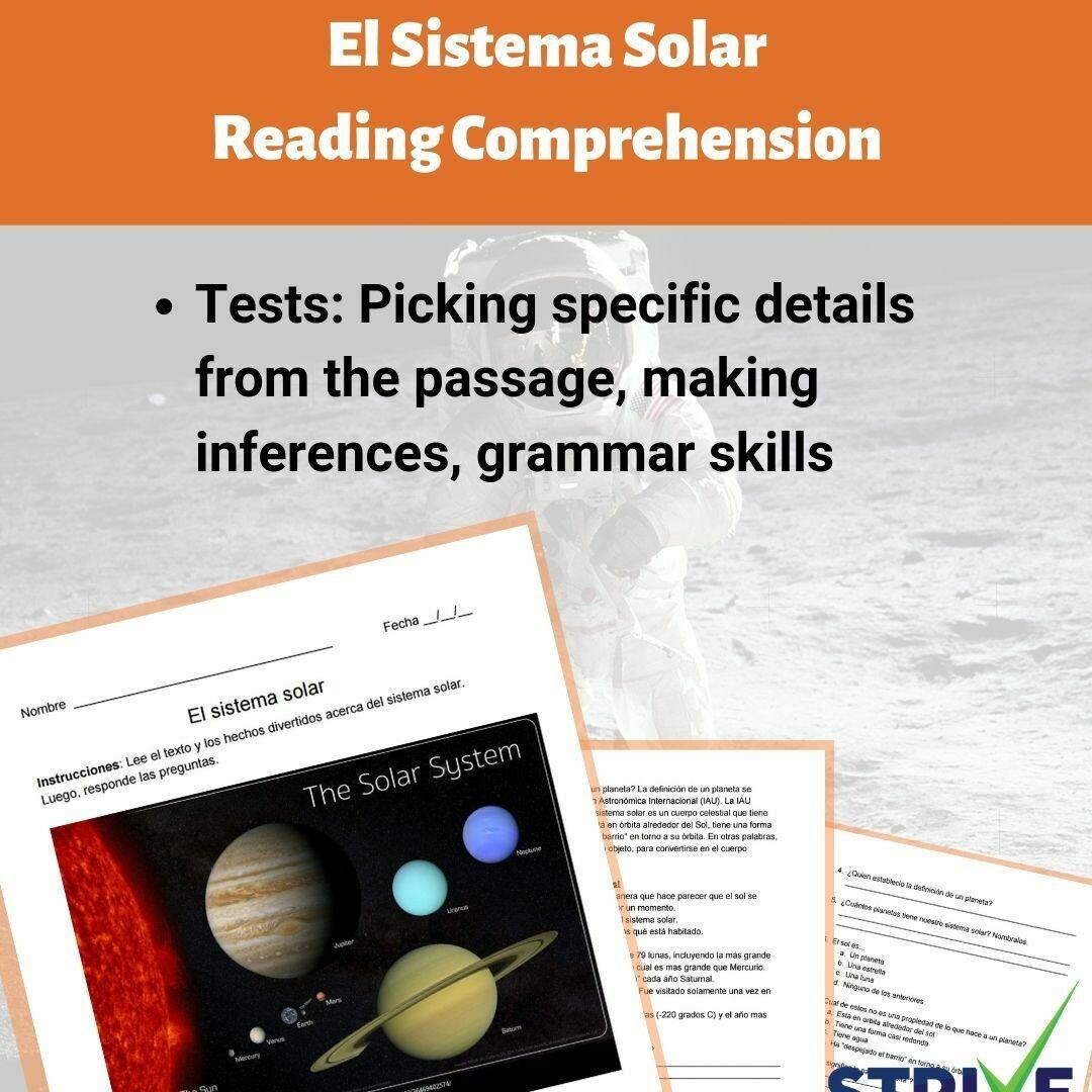 The Solar System Spanish Reading Worksheet
