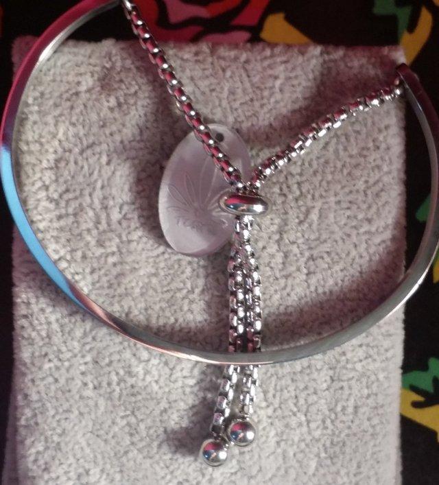 Stainless Steel Bangle Lariat Bracelet