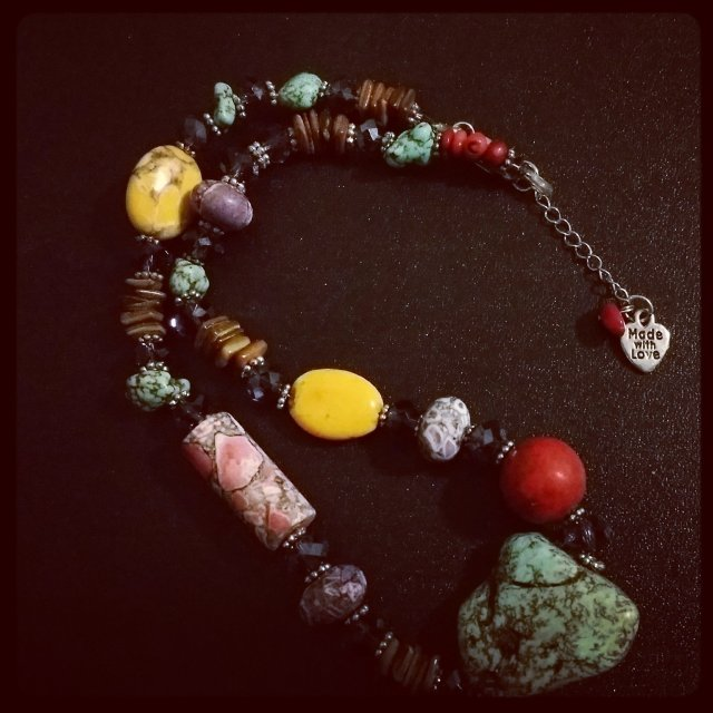 Multi Gemstone Necklace with Extender 00187