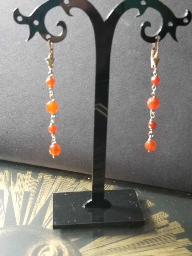 Carnelian and Sterling Silver Earrings by Tesoros