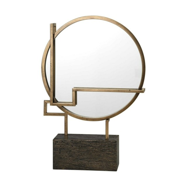 Gold Circular Tabletop Mirror