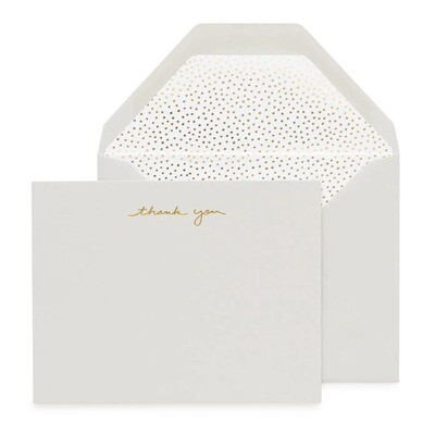 Gray Letterpress Thank You Dots Boxed Card Set