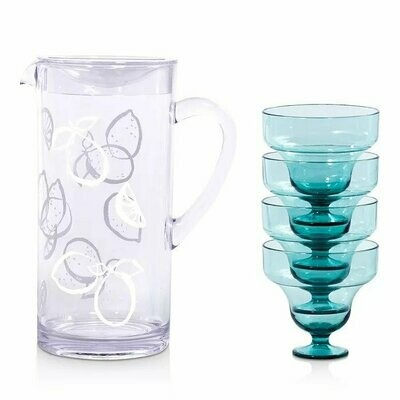 Lemons Pitcher & Blue Glasses Margarita Kit