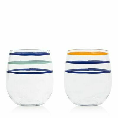 Citrus Twist Striped Acrylic Stemless Wine Glass Set/2