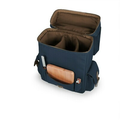 Navy 3-Bottle Wine & Cheese Backpack Tote
