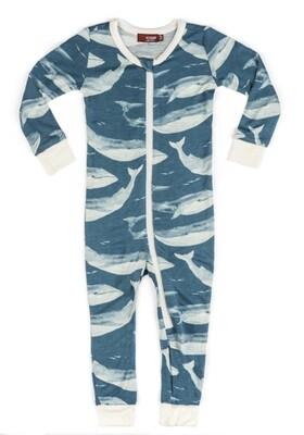 Milkbarn Bamboo Zipper Pajama - Blue Whale