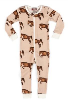 Milkbarn Zipper Pajamas - Horse