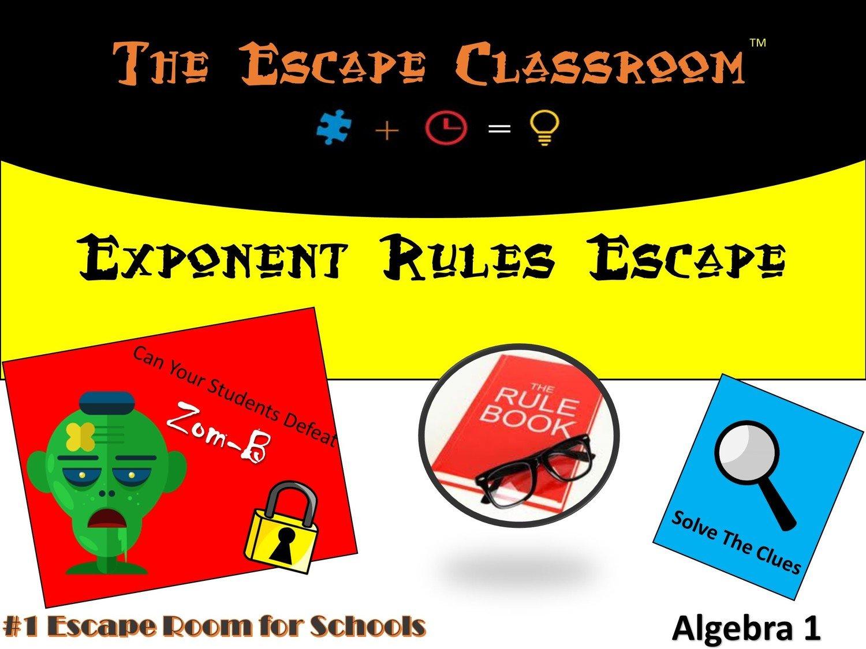 Algebra 1 Exponent Rules Escape School License