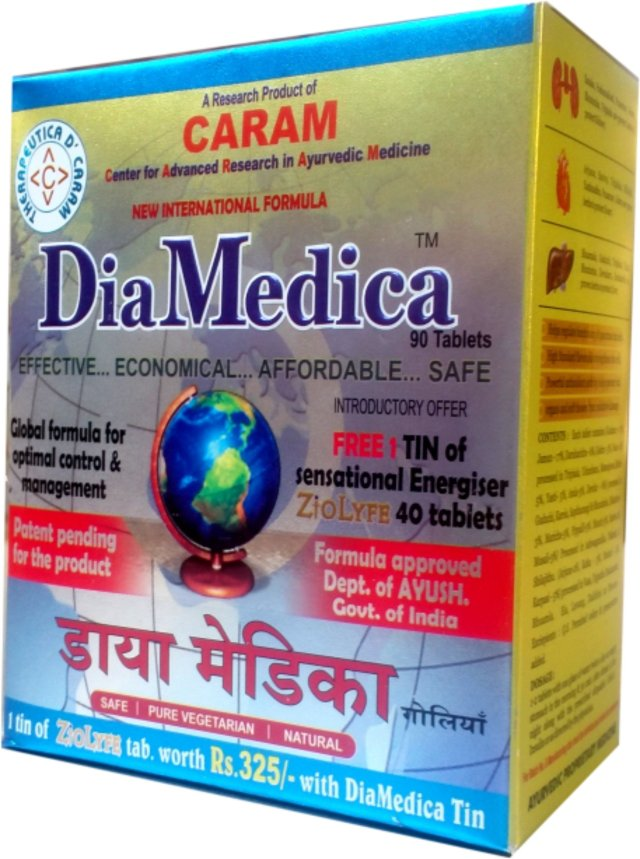 Diamedica  90 tablets tin  +  FREE 1 tin ZioLyfe Energy tablet worth Rs.325 HSN CODE 30049011