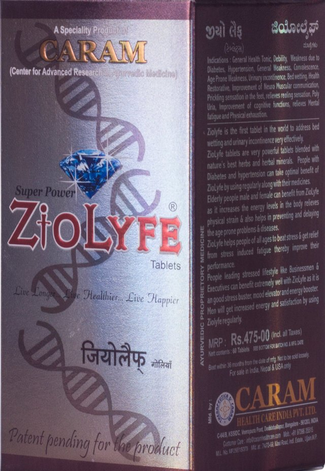 ZioLyfe Energy tablets - 60 tablets HSN CODE -30049011
