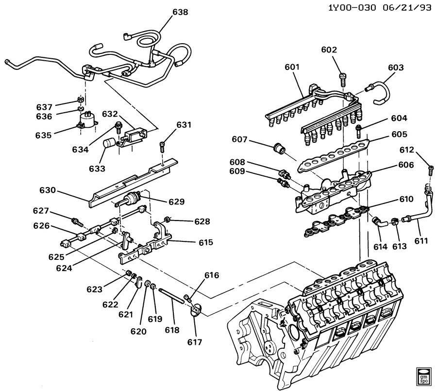 1993-1995 Chevy Corvette C4 ZR1 LT5 Fuel Injector Head