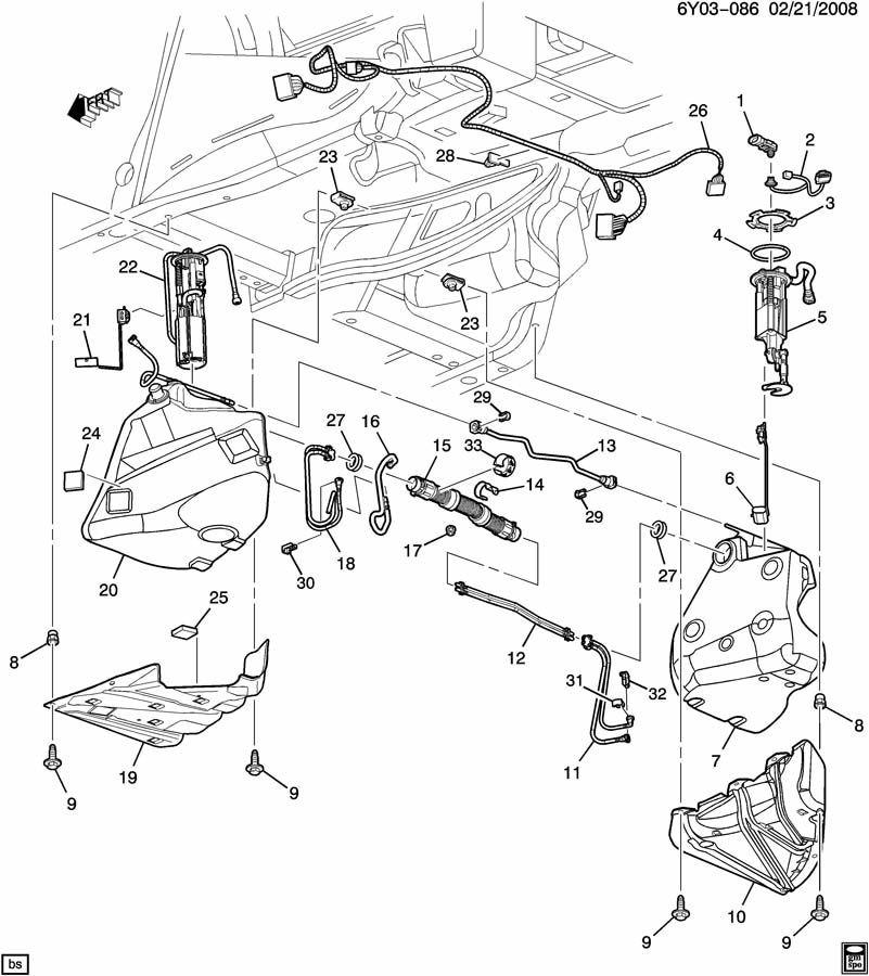 2006-2009 Cadillac XLR Fuel Pump Wiring Harness 10367812