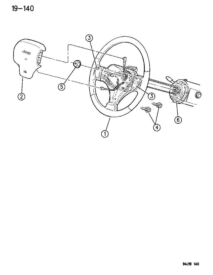 1996-1998 Jeep Grand Cherokee ZJ Steering Wheel Airbag