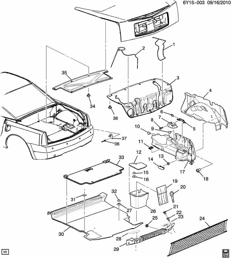 2004-2009 Cadillac XLR Trunk Cargo Net Clip Nut OEM New