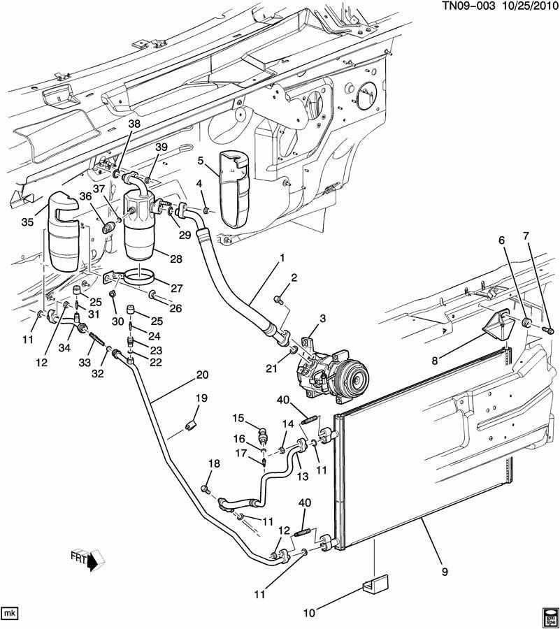 03-09 Hummer H2 AC Compressor Condenser Hose Line ACDelco