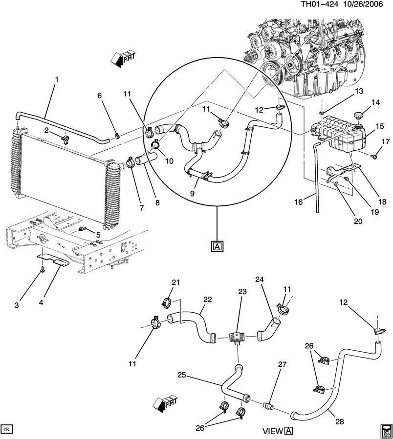 2003-2009 Topkick Kodiak C4500 Lower Radiator Hose New OEM