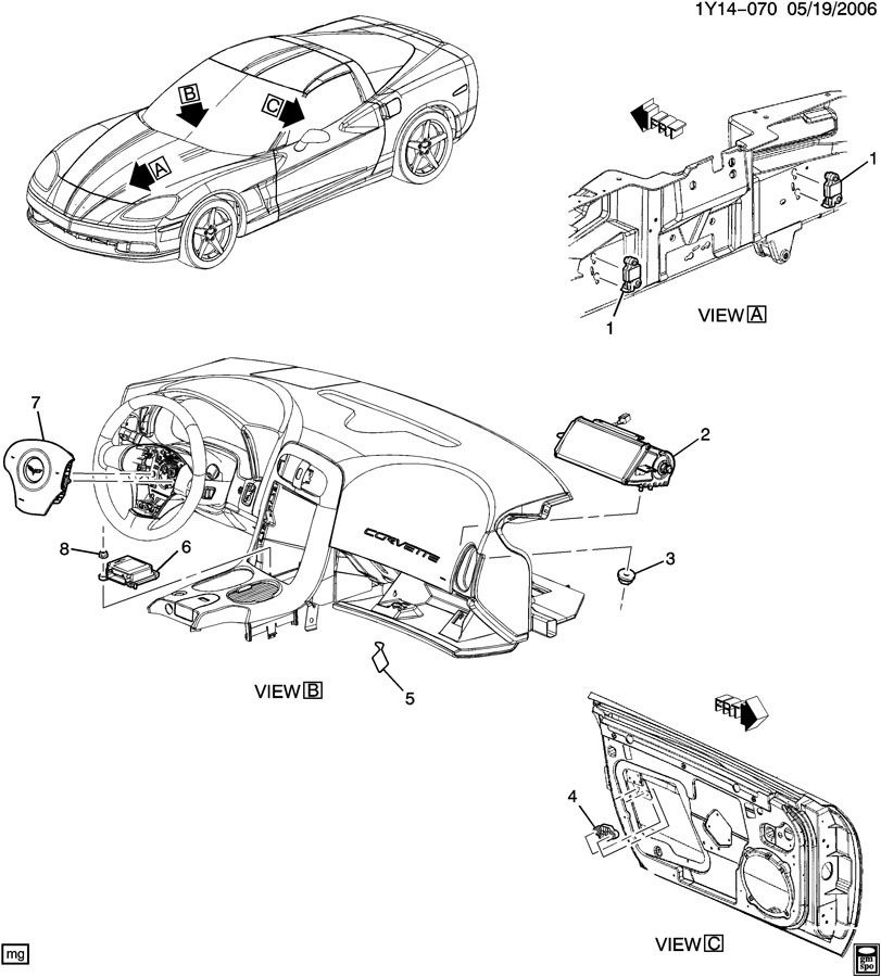 2009-2011 Corvette C6 Airbag Air Bag Module ECU 15883147