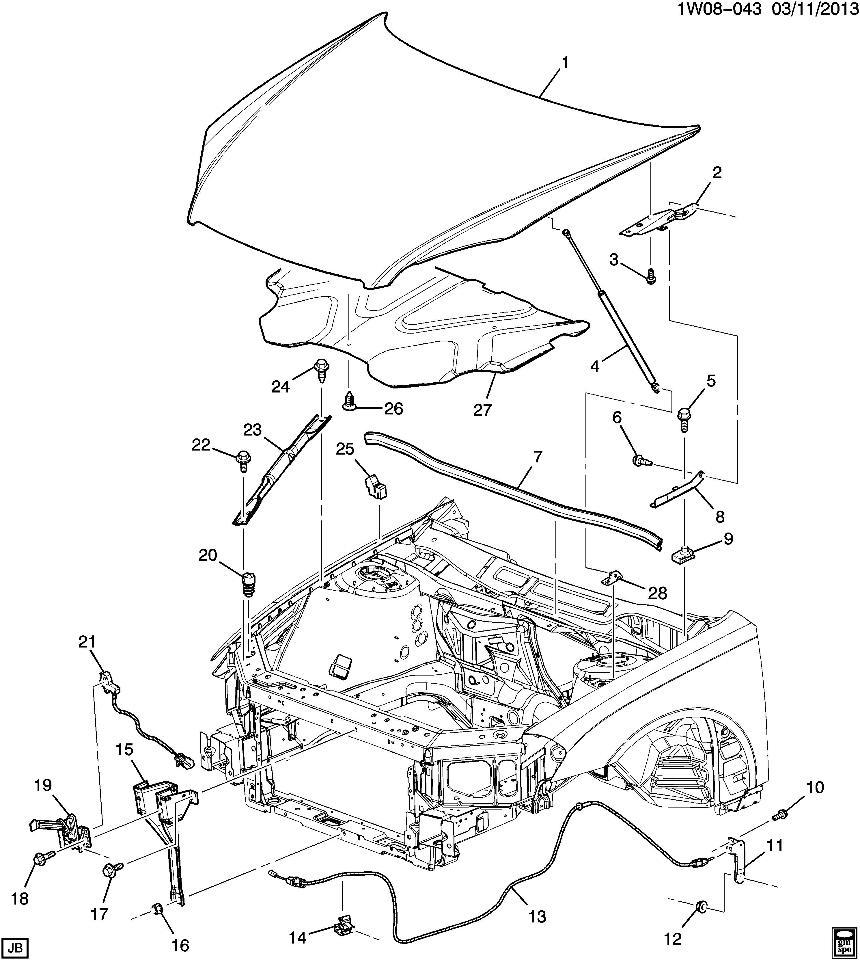 2004-2014 Chevy Impala Malibu Monte Carlo Hood Latch W/O