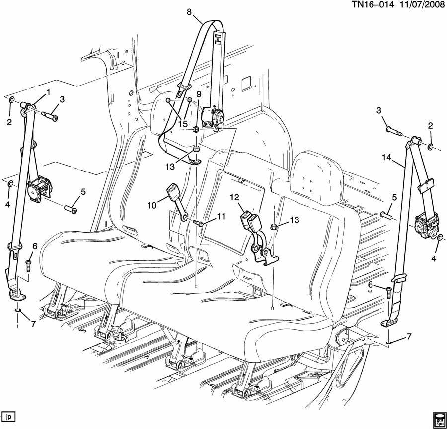 2005-2009 Hummer H2 SUV LH Rear (Drivers Side) Seat Belt