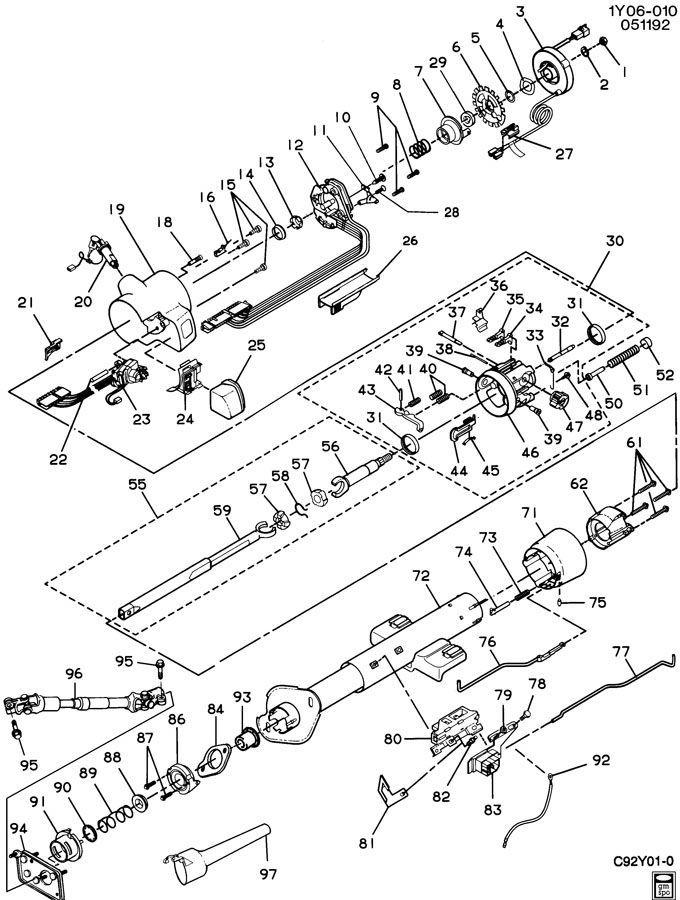 1990-1993 Chevy Corvette C4 Steering Column Dimmer Switch