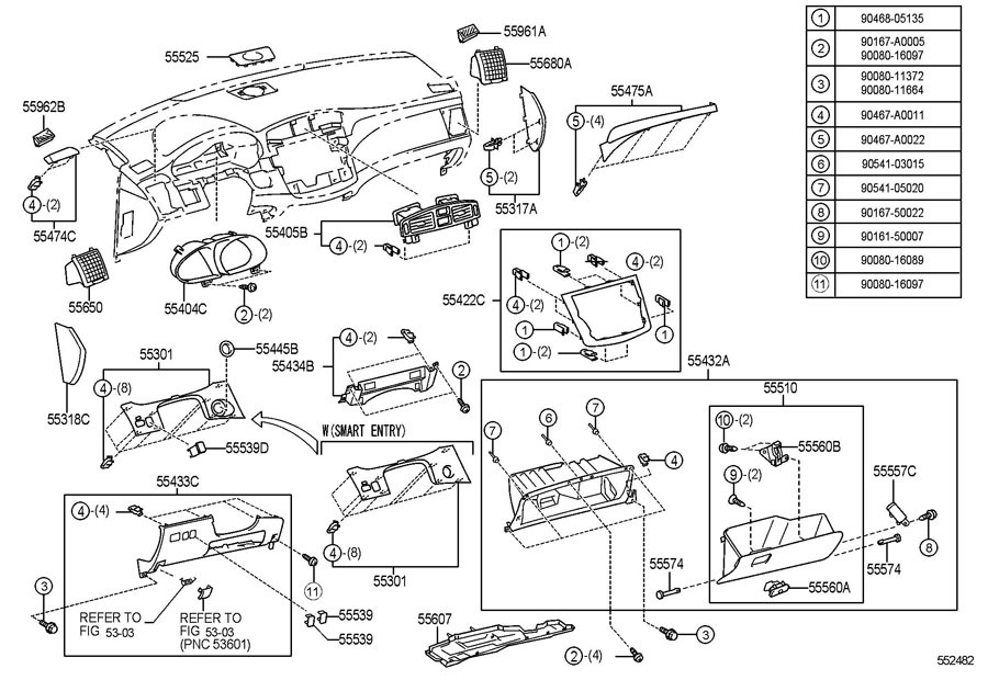 2008-2010 Toyota Avalon RH Dash Air Vent Assembly Light