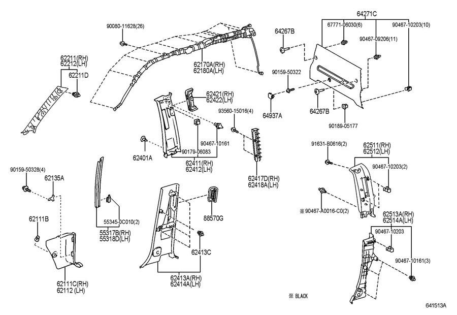 2001-2004 Toyota Tundra Sequoia RH A-Pillar Interior Trim
