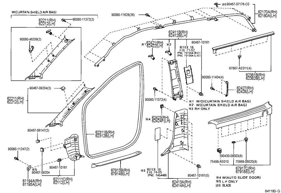 2004-2010 Toyota Sienna Center Pillar Upper Trim LH Stone