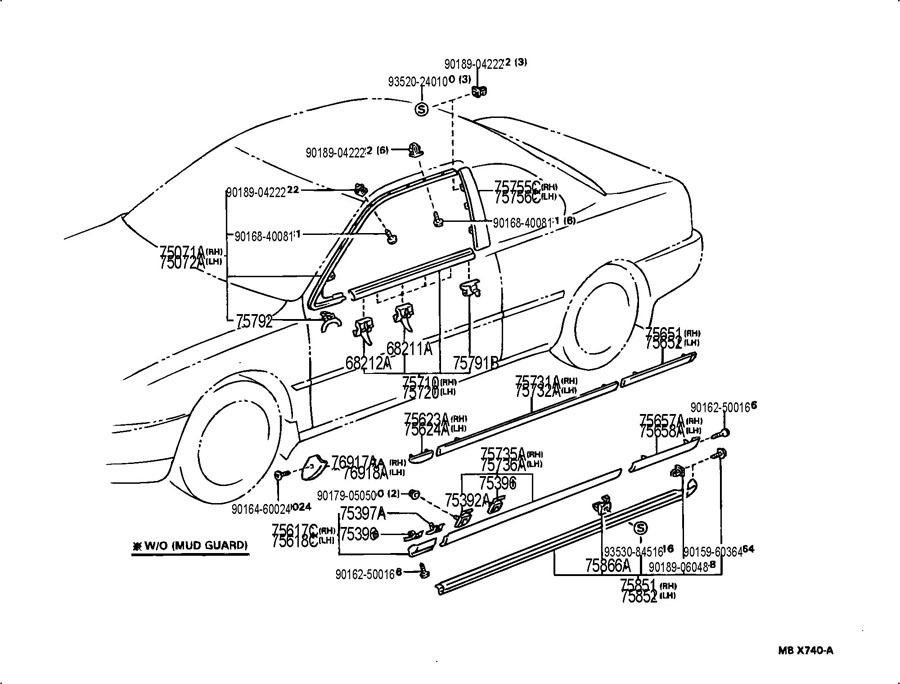 1995-1996 Toyota Camry Rear Left Quarter Panel OutSide