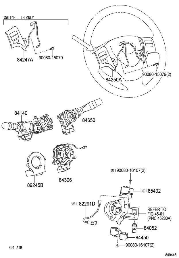 2011-2013 Toyota Corolla Matrix Steering Wheel Switch Assy