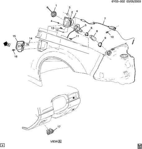 Cadillac XLR Fuel Tank Filler Neck Housing Gas Cap Insert