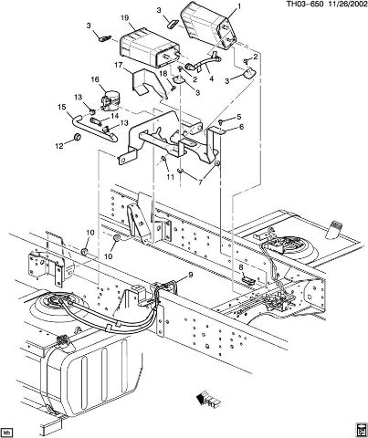2003-09 Topkick Kodiak C6500-C8500 Fuel Tank EVAP Filter