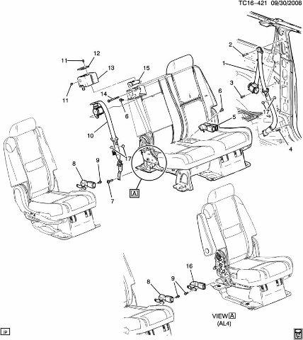 2013-2014 Chevrolet Tahoe Right Side Rear Seat Belt New