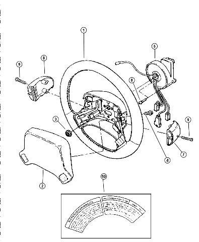1994-1997 Chrysler LHS Steering Wheel Center Cover Gray