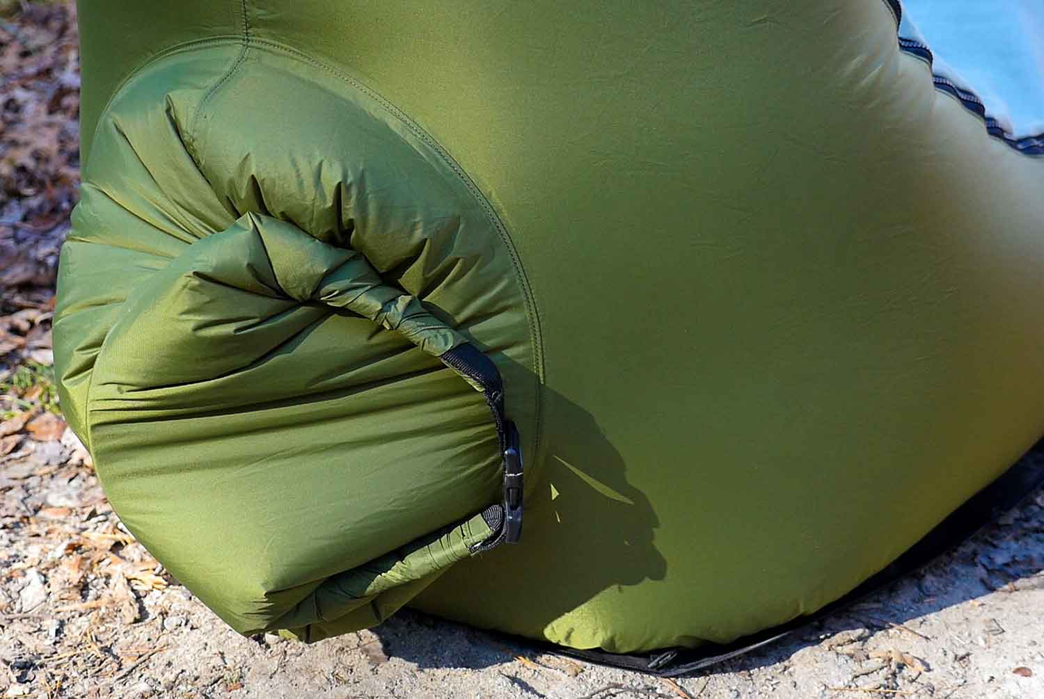 inflatable camping chair target stacking chairs first look trono cushion of air camp gearjunkie