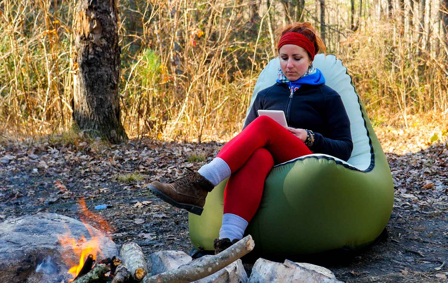 inflatable camping chair velvet covers wholesale china first look trono cushion of air camp gearjunkie