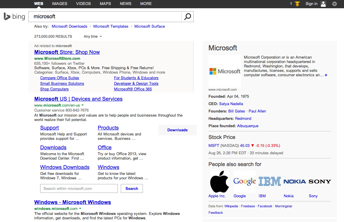 Bing Tests New Search Results Design