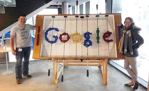 Google Logo Baked Into Foosball Table