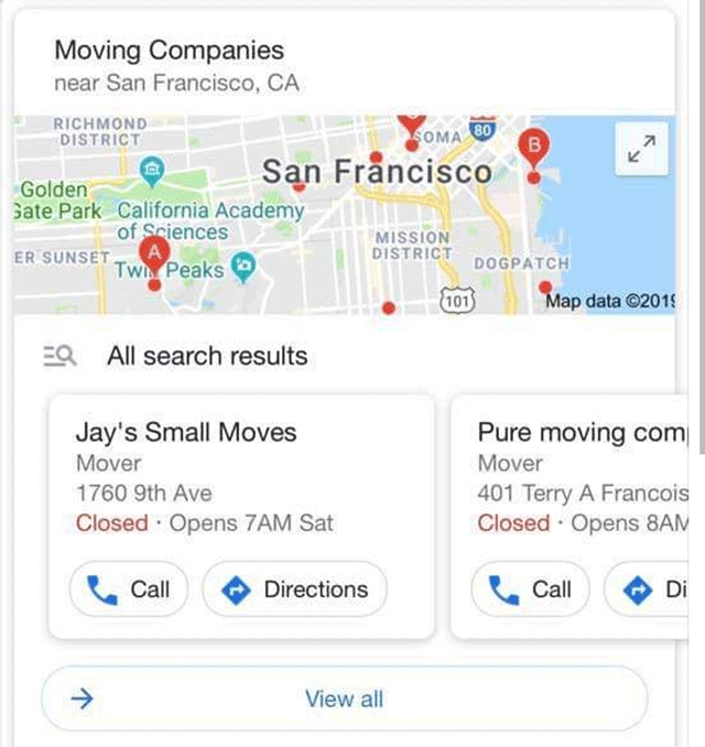 Google Local Pack Carousel