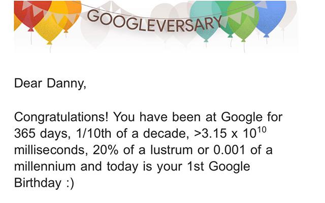 One Year Google Anniversary Googleversary Email