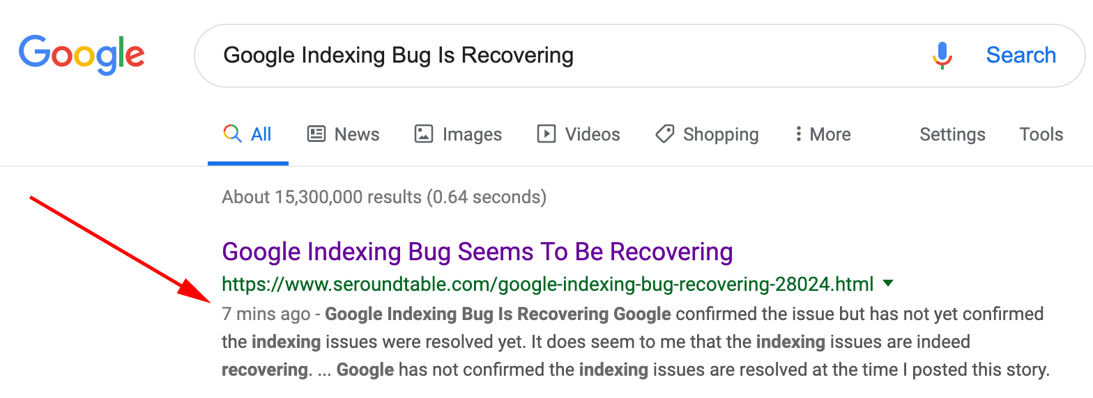 [Update: Resolved]- Google Indexing Bug Seems To Be Recovering