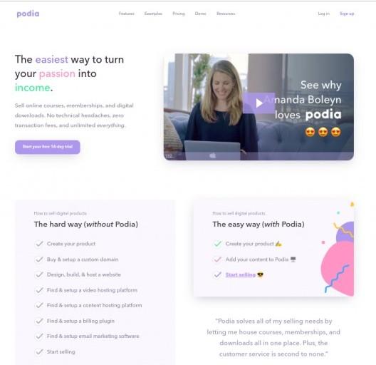 The Podia Homepage