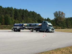 The outrigger was the only thing holding the vehicle up in some of the turns demonstrated without stability controls.