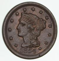 1854 Braided Hair Large Cent | usauctiononline.com
