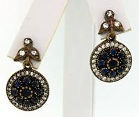 Blue & White Stone Dangle Earrings   usauctiononline.com