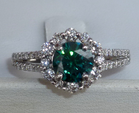 65mm Med Green Moissanite Diamond Halo Ring Loupe Troop