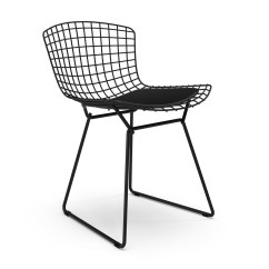 Bertoia Side Chair Black Leather Dining
