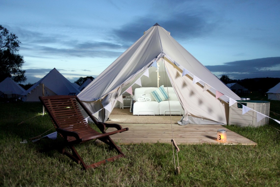 The Pop-Up Hotel checks in its first Glastonbury Festival-goers on 21 June 2011. As hundreds of thousands of revellers have to put up with 'roughing' it for the next four days, guests at the exclusive hotel will be treated to luxuries akin to that of five star establishments. Pictures: Adam Gerrard