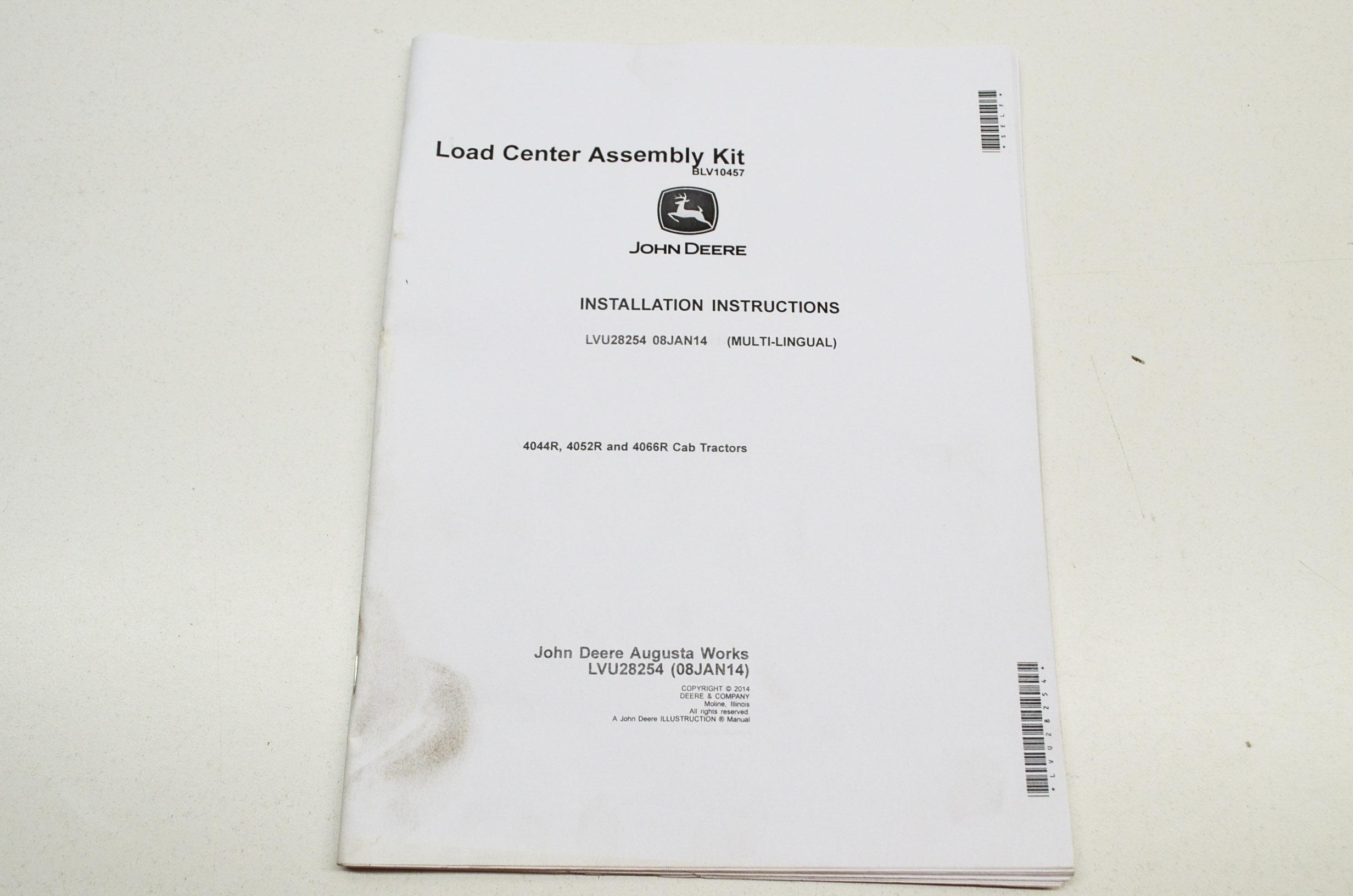 OEM John Deere Installation Instructions Load Center