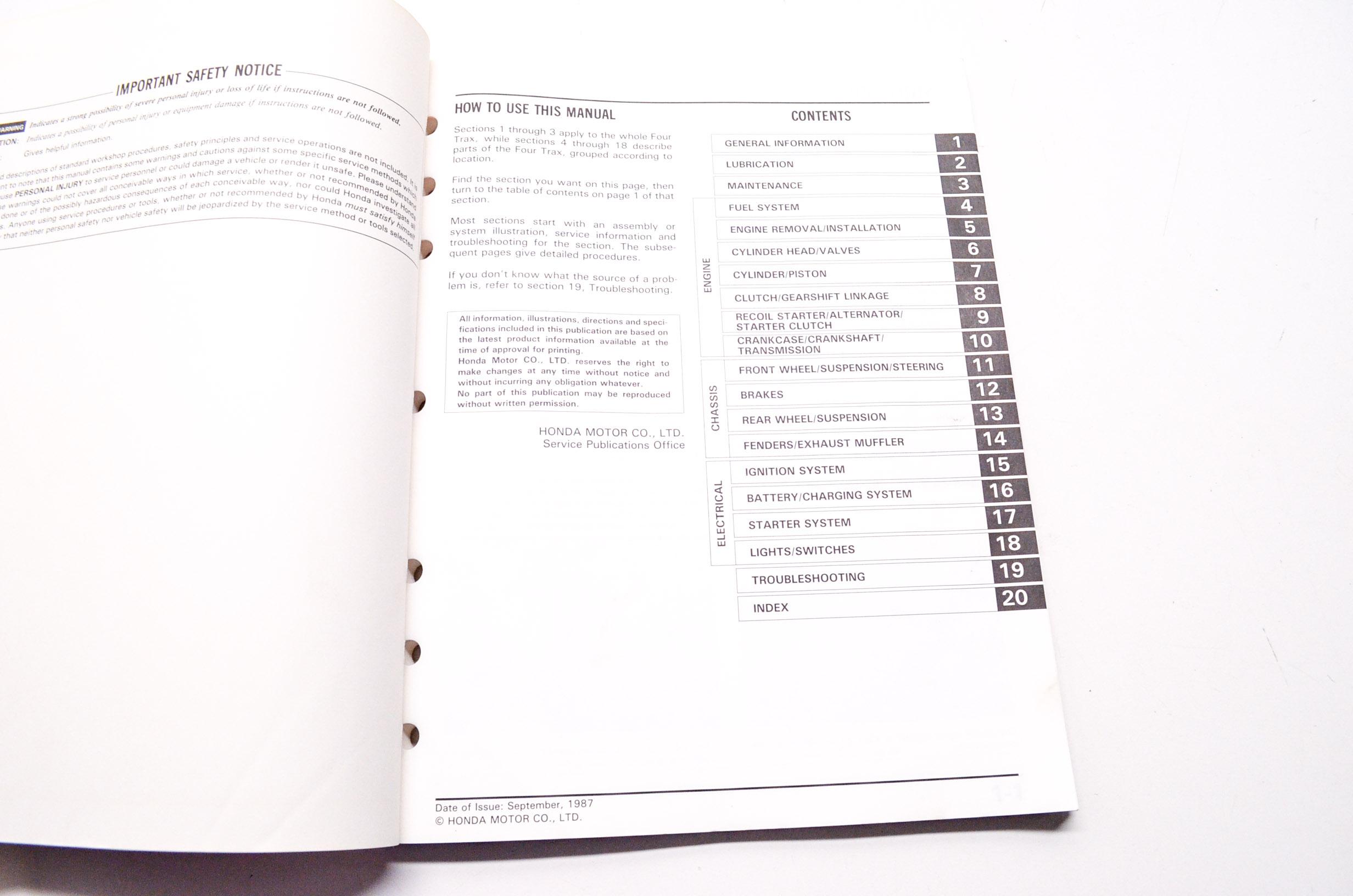 OEM Honda 61HB302 Service Shop Manual TRX200SX Fourtrax 86