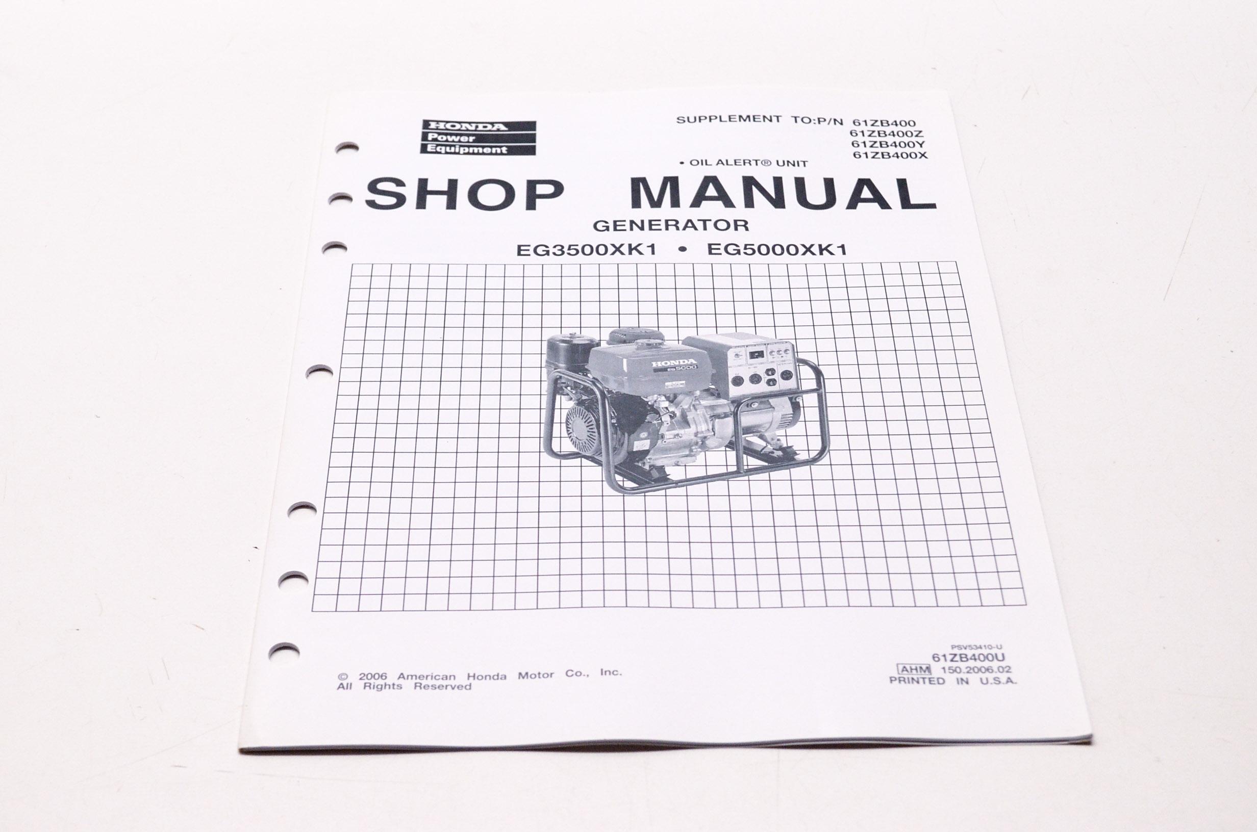 OEM Honda 61ZB400U Service Shop Manual Supplement